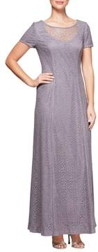 Alex Evenings Illusion Neck Lace Gown