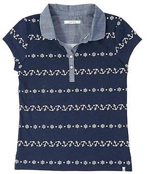 Nautica Little Girls' Chambray Trim Anchor Polo Shirt (2T-7)