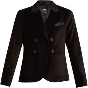 A.P.C. Double-breasted cotton-velvet blazer