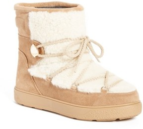 Moncler Women's New Fanny Stivale Genuine Shearling Short Moon Boots