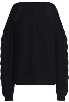 Autumn Cashmere Cold-Shoulder Cable-Knit Cotton Sweater