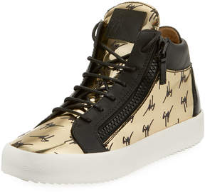 Giuseppe Zanotti Men's Golden Logo High-Top Sneakers