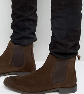 Asos Wide Fit Chelsea Boots in Brown Suede