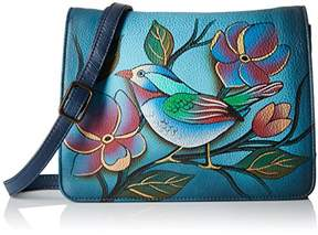 Anuschka Anna by Women's Genuine Leather Small Flap-Over Handbag | Cross Body Organizer | Lonesome Bird Denim