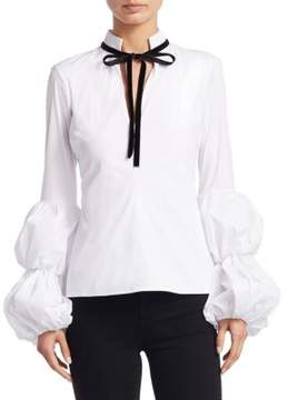 Caroline Constas Yasmin Puff-Sleeves Cotton Blouse