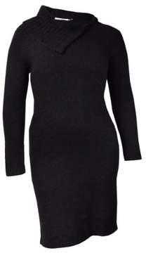 Calvin Klein Women's Asymmetrical Textured Knit Sweater Dress (L, Black)