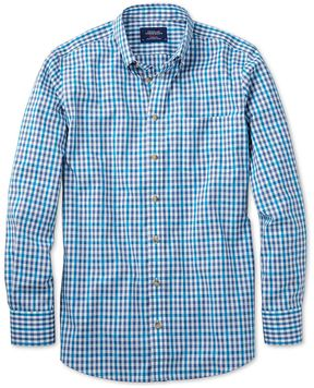 Charles Tyrwhitt Slim Fit Non-Iron Poplin Turquoise Check Cotton Casual Shirt Single Cuff Size XS