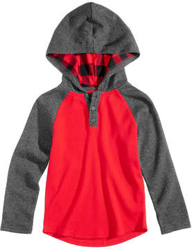 Epic Threads Plaid Hooded Henley, Little Boys (4-7), Created for Macy's