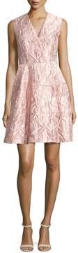 Talbot Runhof Nomotion Sleeveless Poppy Relief Cloqué Cocktail Dress, Pink