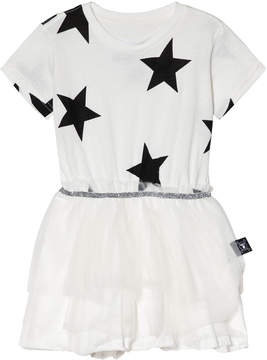 Nununu White And Black Star Tulle Dress