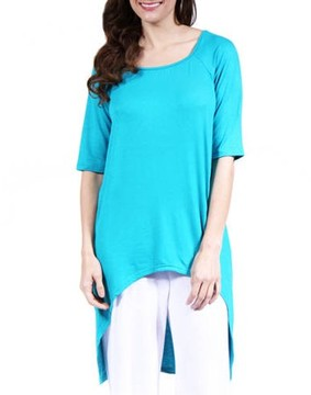 24/7 Comfort Apparel Women's High-Low 3/4 Sleeve Extra Long Tunic Top