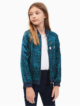 Calvin Klein Jeans Girls Spotted Cat Satin Bomber Jacket