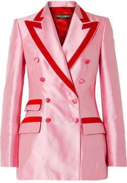 Dolce & Gabbana Two-tone Cotton-blend Faille Blazer - Baby pink