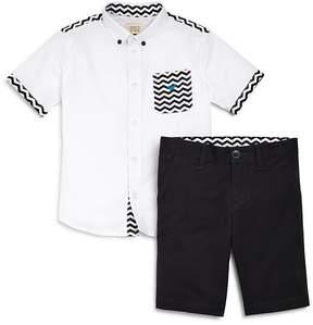 Armani Junior Boys' Chevron Button-Down & Shorts Set - Little Kid, Big Kid