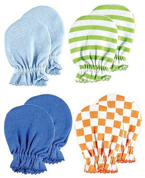 Luvable Friends Green Stripe & Orange Checker Mittens - Set of Four