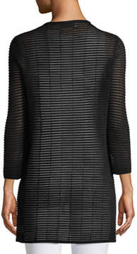 Joan Vass 3/4-Sleeve Sheer-Striped Duster Cardigan