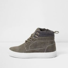 River Island Boys grey cleated contrast sole ankle boots