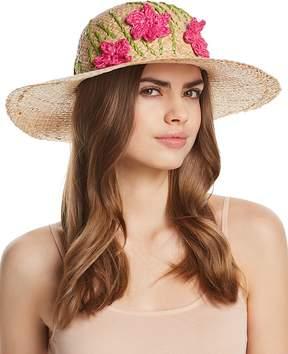 Aqua Straw Floppy Hat with Flowers - 100% Exclusive