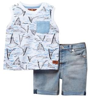 7 For All Mankind Tank & Shorts Set (Baby Boys)