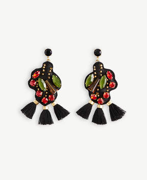 Ann Taylor Embroidered Flower Drop Earrings