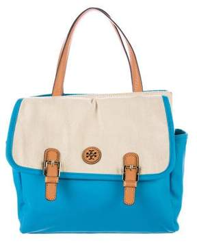 Tory Burch Leather-Trimmed Canvas Tote - BLUE - STYLE