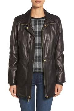 Ellen Tracy Zip Front Genuine Leather Coat