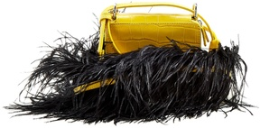 MARQUES'ALMEIDA Ostrich-feather crocodile-effect cross-body bag