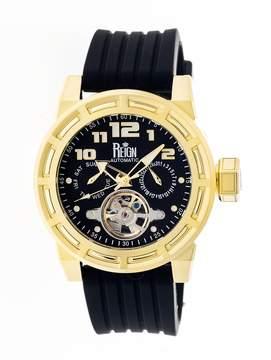 Reign Rothschild Gold-tone Stainless Steel Case Black Semi-Skeleton Dial Men's Watch