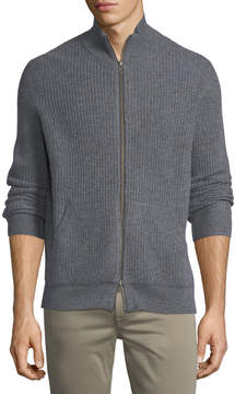 Neiman Marcus Cashmere Thermal Zip-Front Sweater