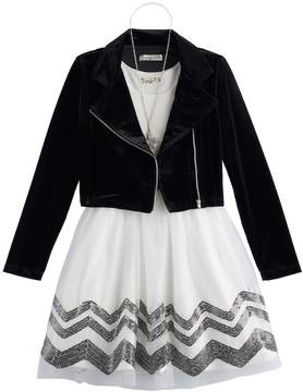 Knitworks Girls 7-16 Velvet Moto Jacket & Chevron Dress Set with Necklace
