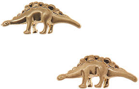 Carole Brushed Goldtone Dinosaur Earrings