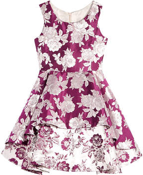 Bonnie Jean Big Girls Double-Tier Floral Brocade Dress
