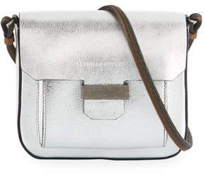 Brunello Cucinelli Metallic Leather Mini Crossbody Bag
