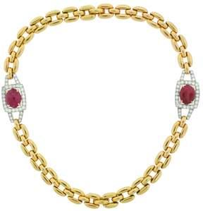 David Webb Ruby Diamond Yellow Gold Necklace Bracelet
