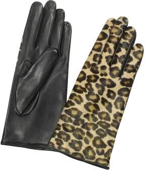 Forzieri Women's Leopard Pony Hair and Italian Nappa Leather Gloves