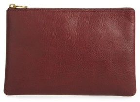 Madewell The Leather Pouch Clutch - Burgundy