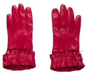Neiman Marcus Leather Pleated Gloves