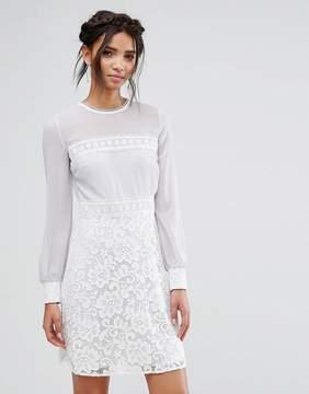 Elise Ryan Long Sleeve Mini Dress With Corded Lace Skirt