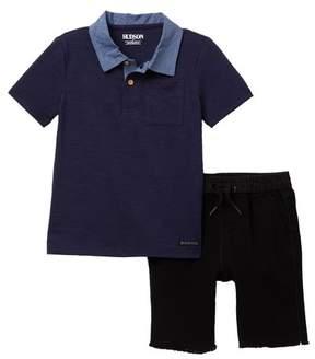 Hudson Slub Jersey Chambray Polo & Shorts (Toddler Boys)
