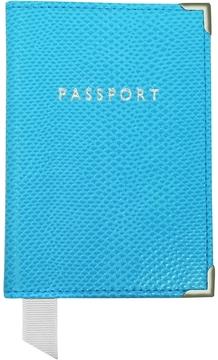 Aspinal of London Aquamarine Lizard Passport Cover