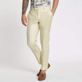 River Island Mens Yellow stretch skinny suit pants