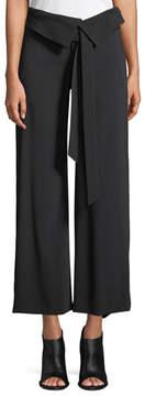Jonathan Simkhai Deconstructed Satin Crepe Wide-Leg Fold-Over Crop Pants