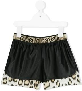 Roberto Cavalli leopard print trim shorts