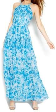 Calvin Klein Women's Printed Chiffon Halter Maxi Dress