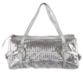 Hogan Leather-Trimmed Sequin Bag