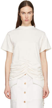 Carven Off-White Lace-Up Ruched Detail T-Shirt