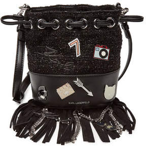 Karl Lagerfeld K/Klassik Pins Mini Drawstring Bag with Leather