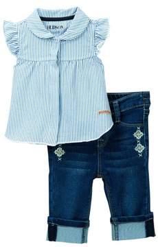 Hudson Striped Flutter Shirt & Denim Crop Pants 2-Piece Set (Baby Girls)