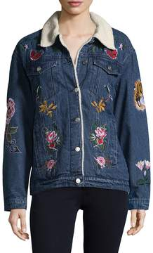 Bagatelle Women's Sherpa Lined Embroidered Jacket