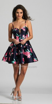 Dave and Johnny Sweetheart Floral Print Fit and Flare Homecoming Dress